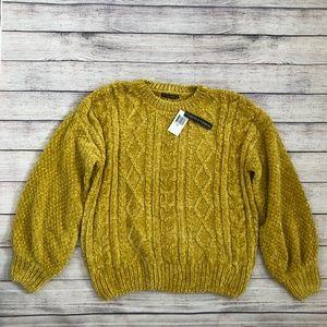 Chelsea & Theodore Mustard Yellow Chenille Sweater